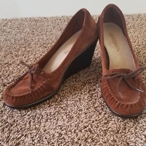 Aerosoles Suede Wedge Moccasin Loafers 8